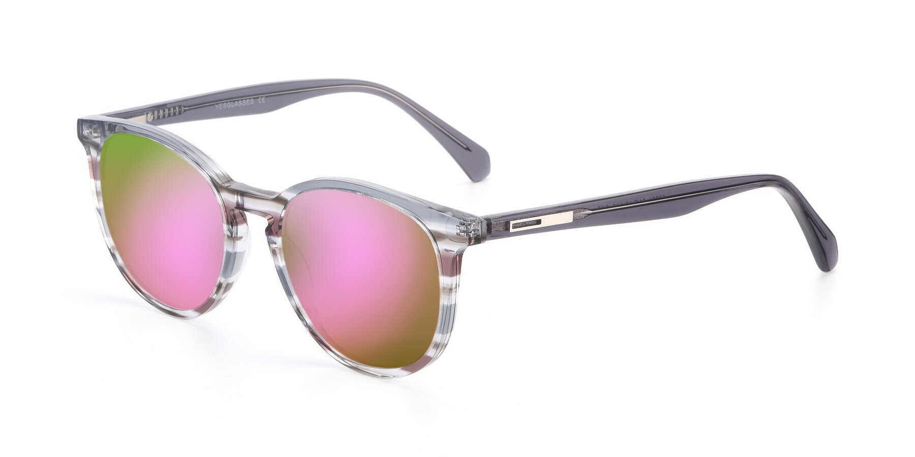 Angle of 17721 in Stripe Grey with Pink Mirrored Lenses