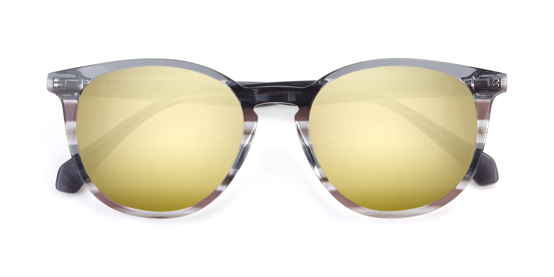 Folded Front of 17721 in Stripe Grey with Gold Mirrored Lenses