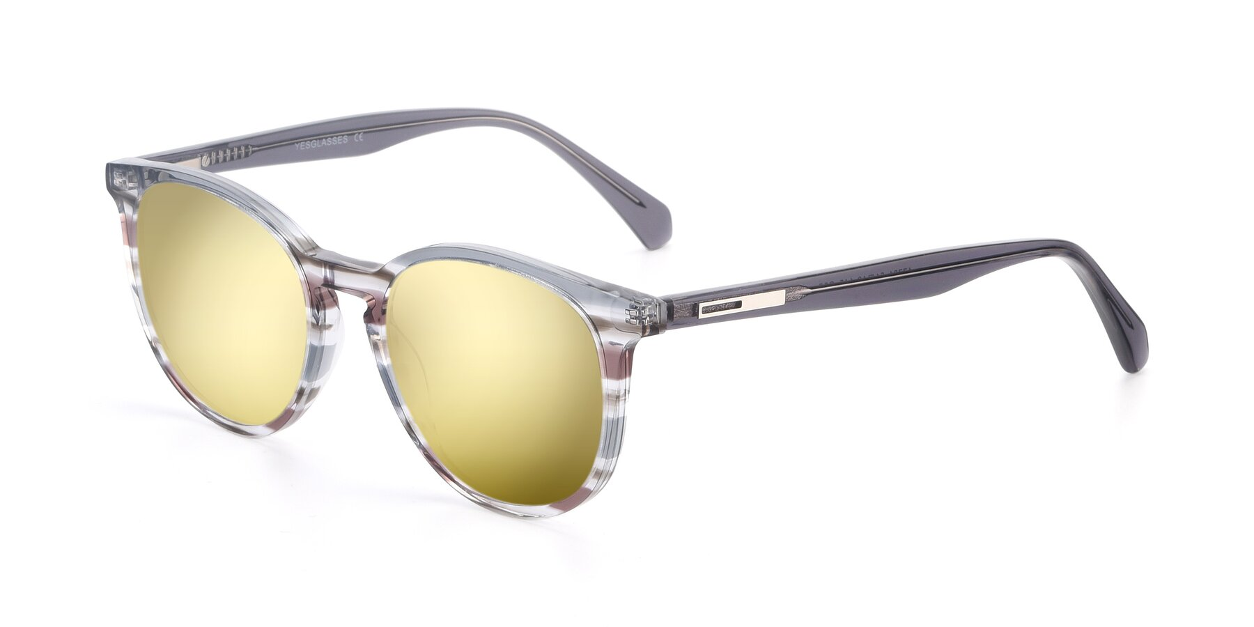 Angle of 17721 in Stripe Grey with Gold Mirrored Lenses