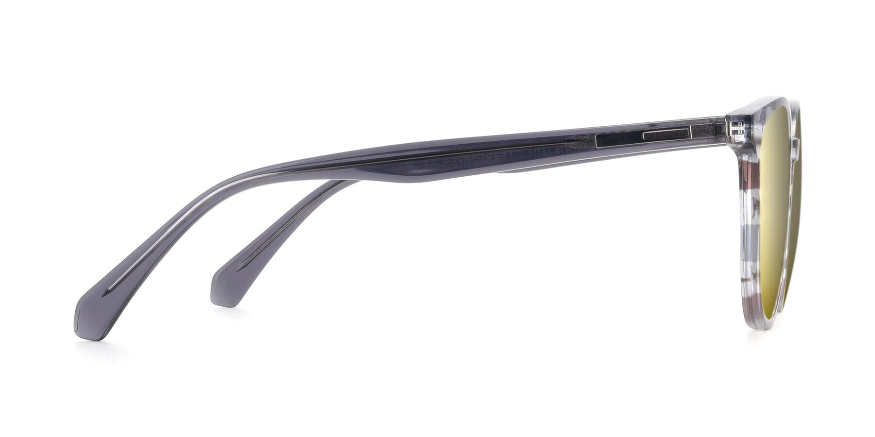 Side of 17721 in Stripe Grey with Gold Mirrored Lenses