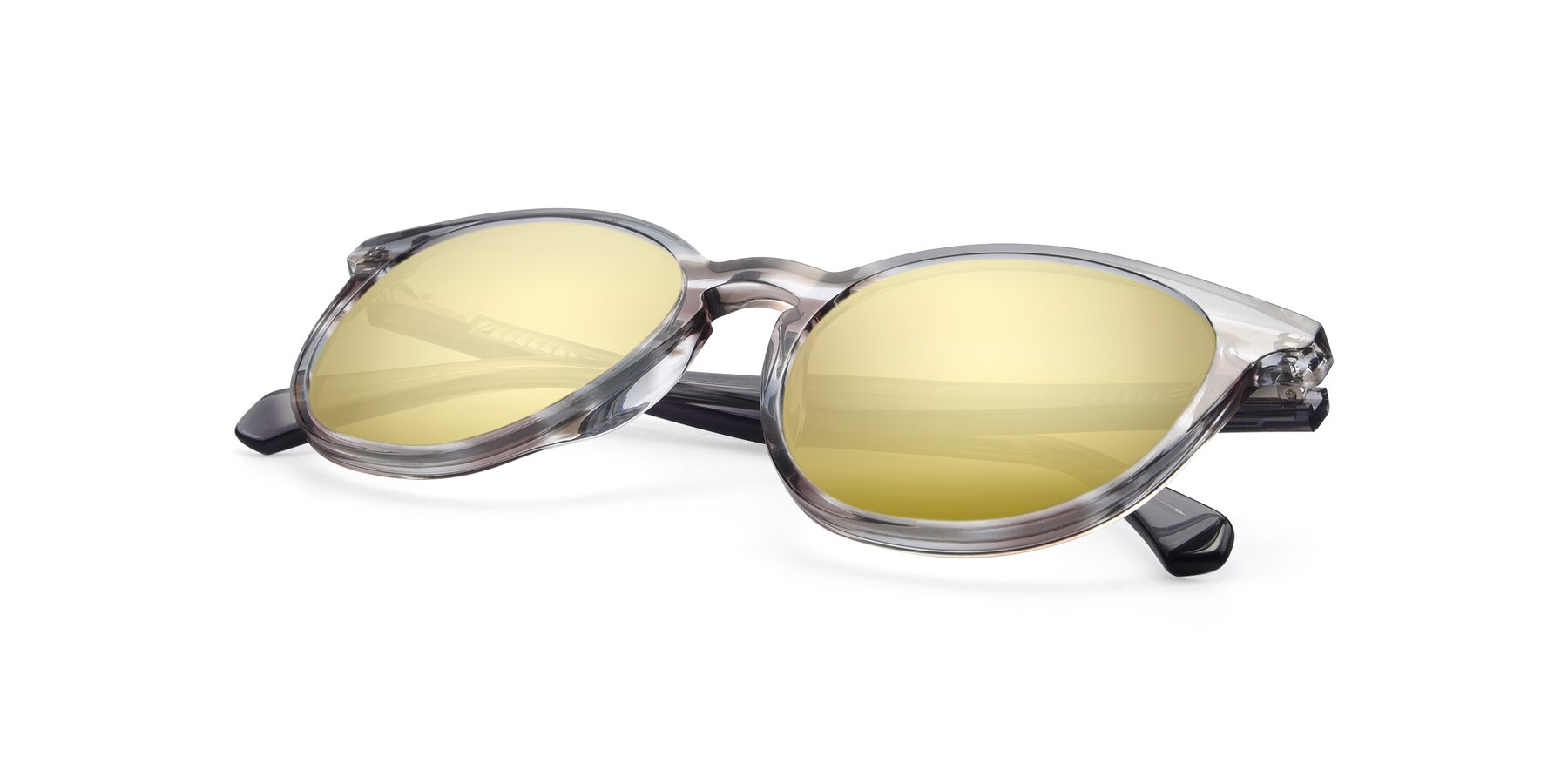 View of 17721 in Stripe Grey with Gold Mirrored Lenses