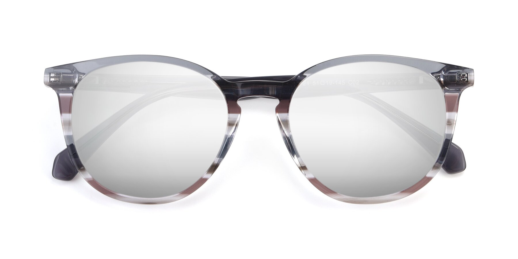 Folded Front of 17721 in Stripe Grey with Silver Mirrored Lenses
