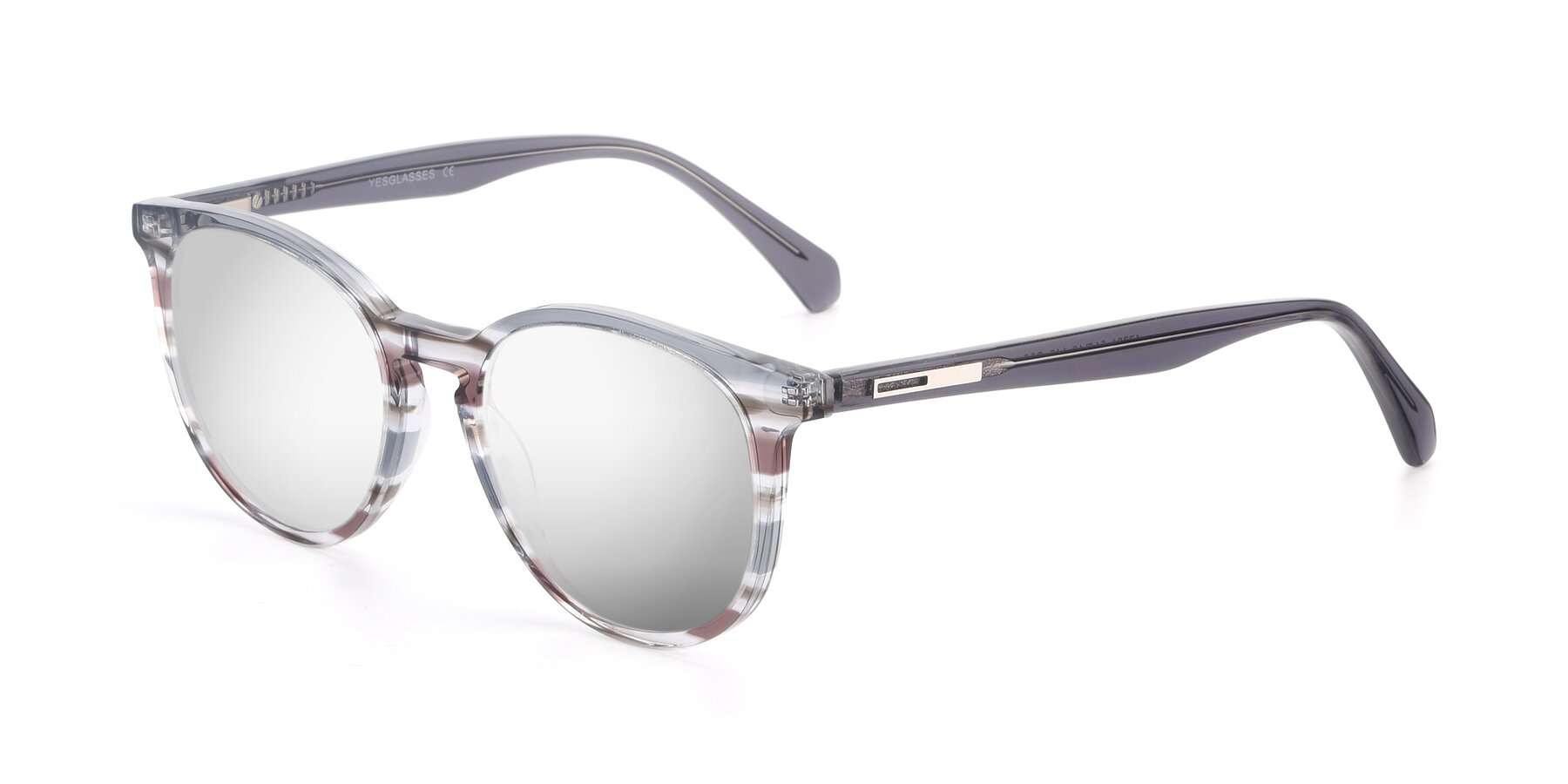 Angle of 17721 in Stripe Grey with Silver Mirrored Lenses