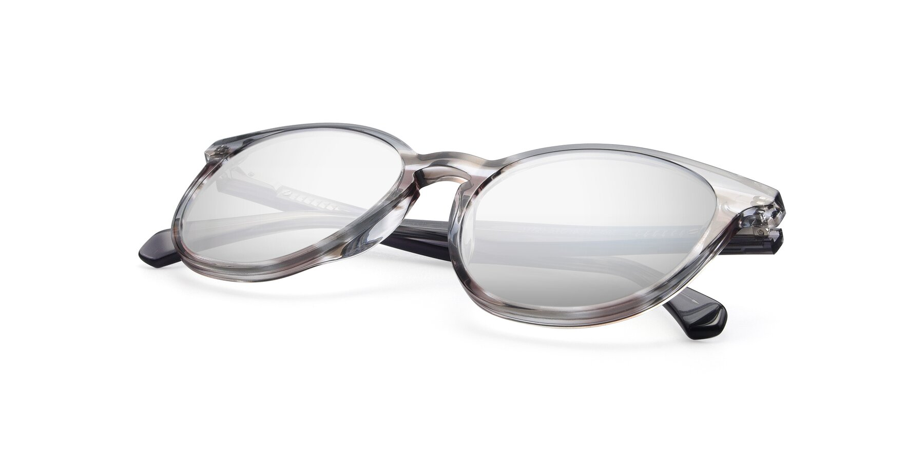 View of 17721 in Stripe Grey with Silver Mirrored Lenses