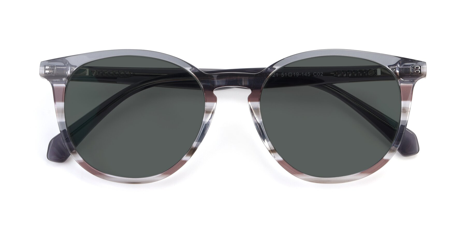 Folded Front of 17721 in Stripe Grey with Gray Polarized Lenses
