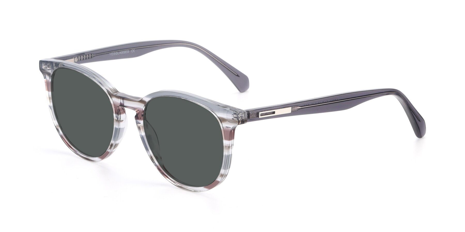 Angle of 17721 in Stripe Grey with Gray Polarized Lenses