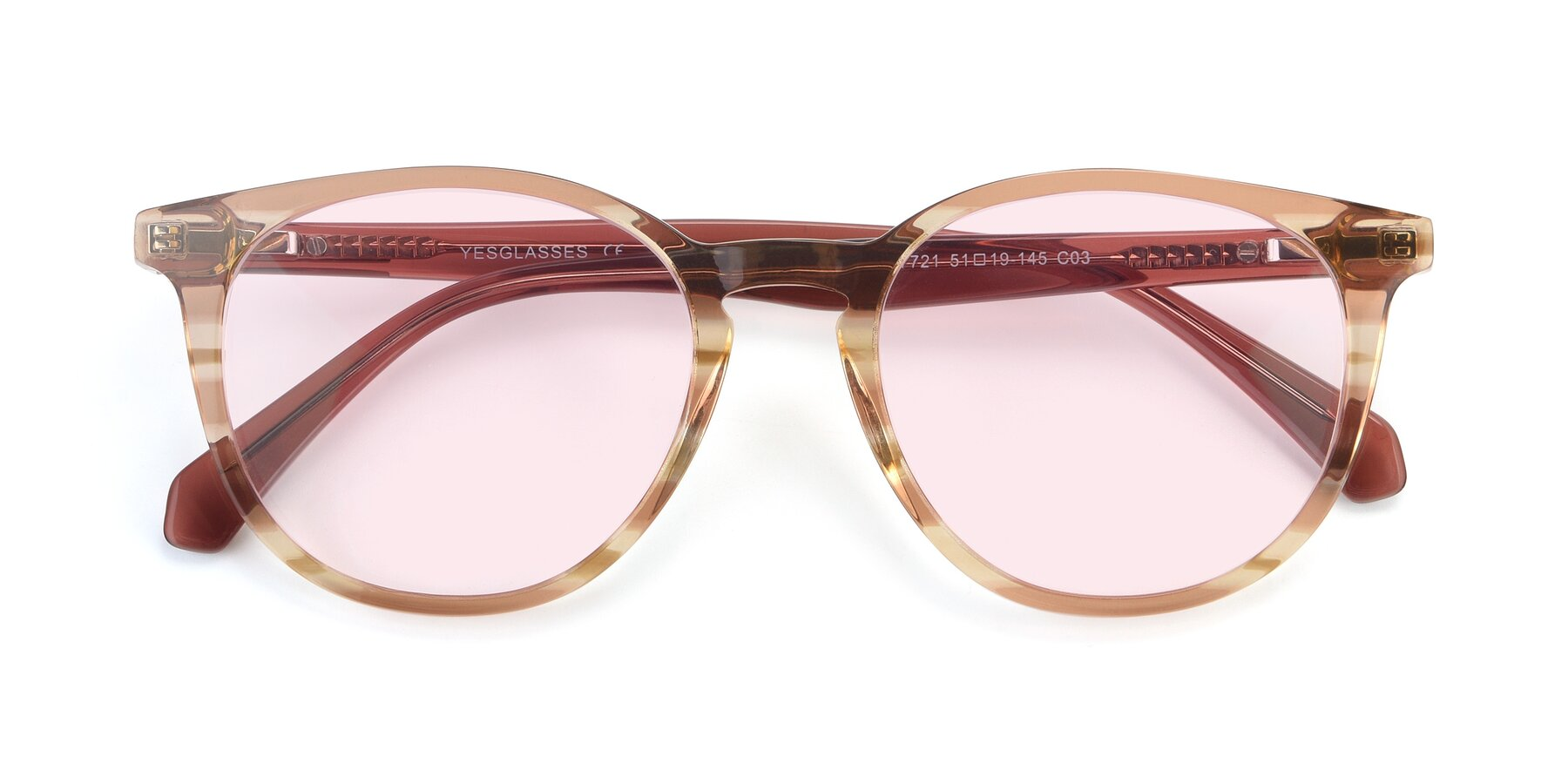 Folded Front of 17721 in Stripe Caramel with Light Pink Tinted Lenses