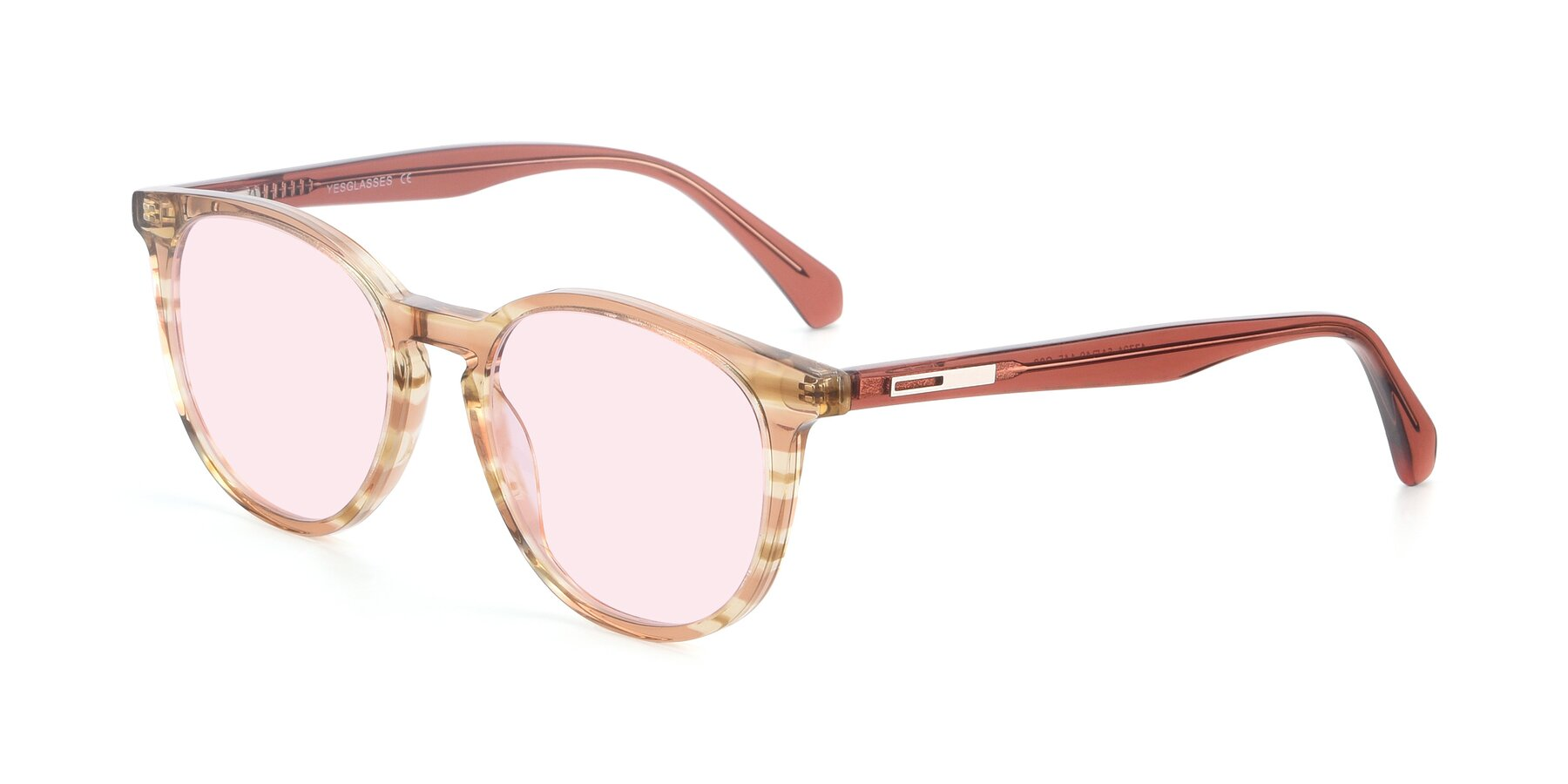 Angle of 17721 in Stripe Caramel with Light Pink Tinted Lenses