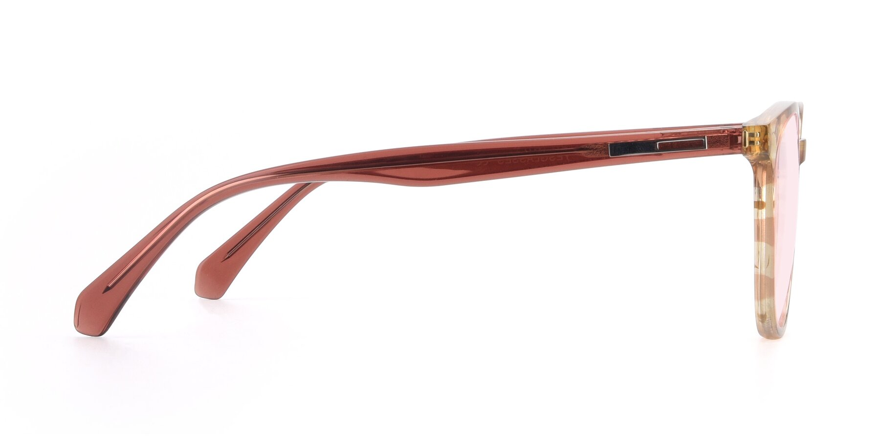 Side of 17721 in Stripe Caramel with Light Pink Tinted Lenses