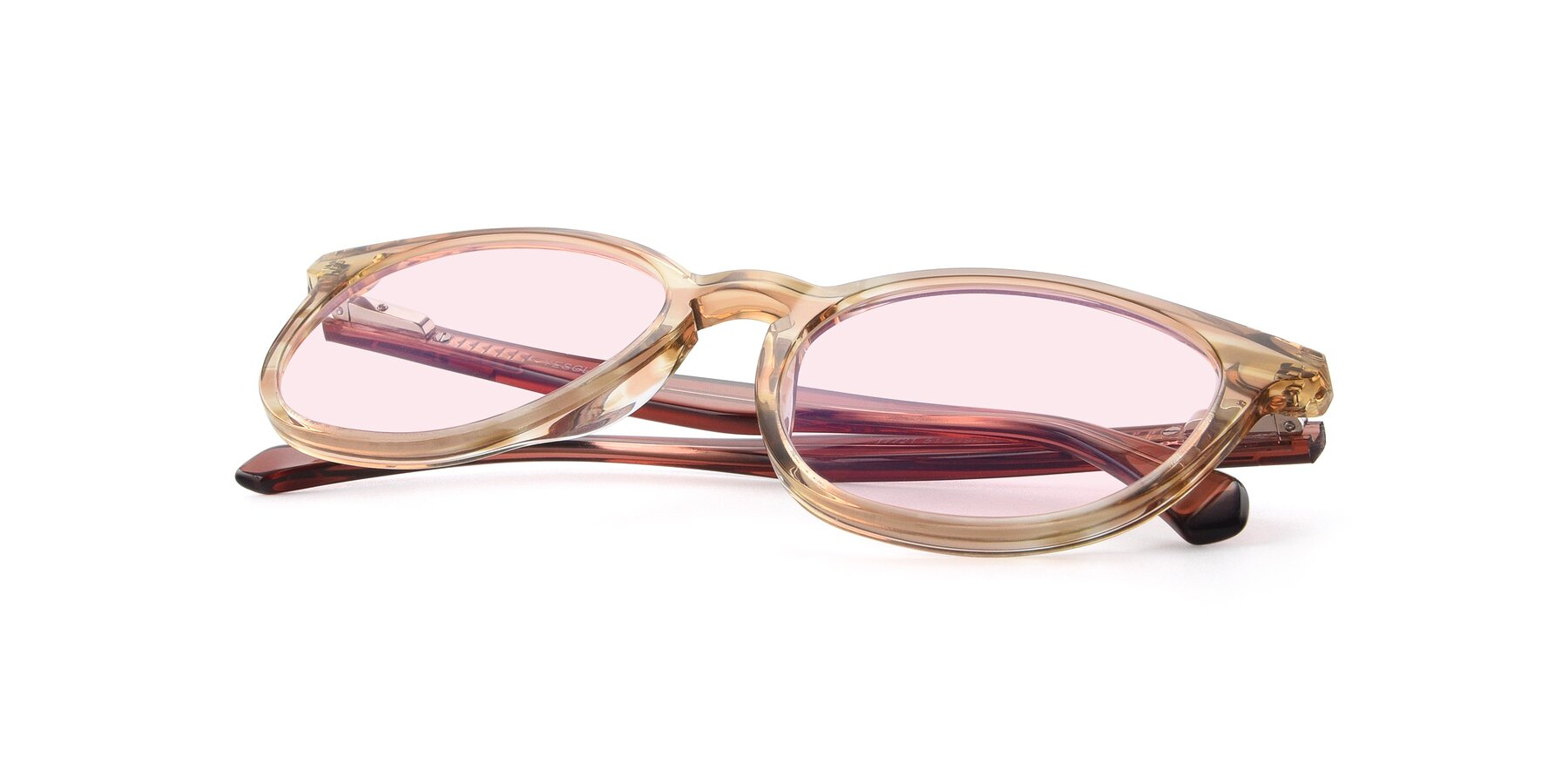 View of 17721 in Stripe Caramel with Light Pink Tinted Lenses