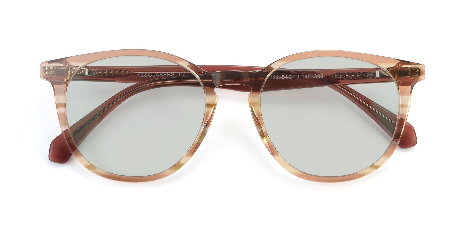 Folded Front of 17721 in Stripe Caramel with Light Green Tinted Lenses