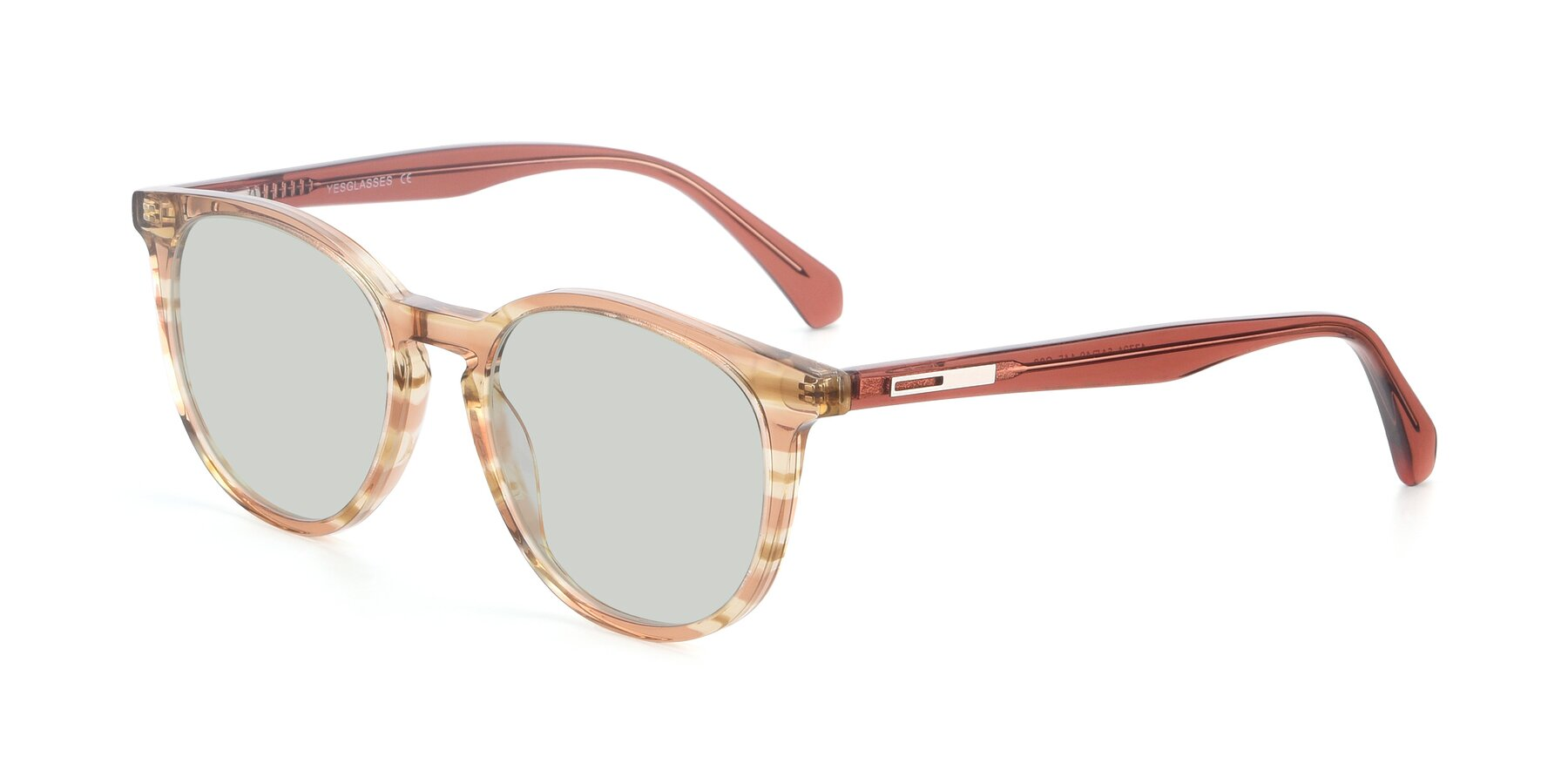 Angle of 17721 in Stripe Caramel with Light Green Tinted Lenses