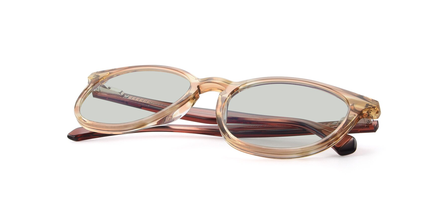View of 17721 in Stripe Caramel with Light Green Tinted Lenses