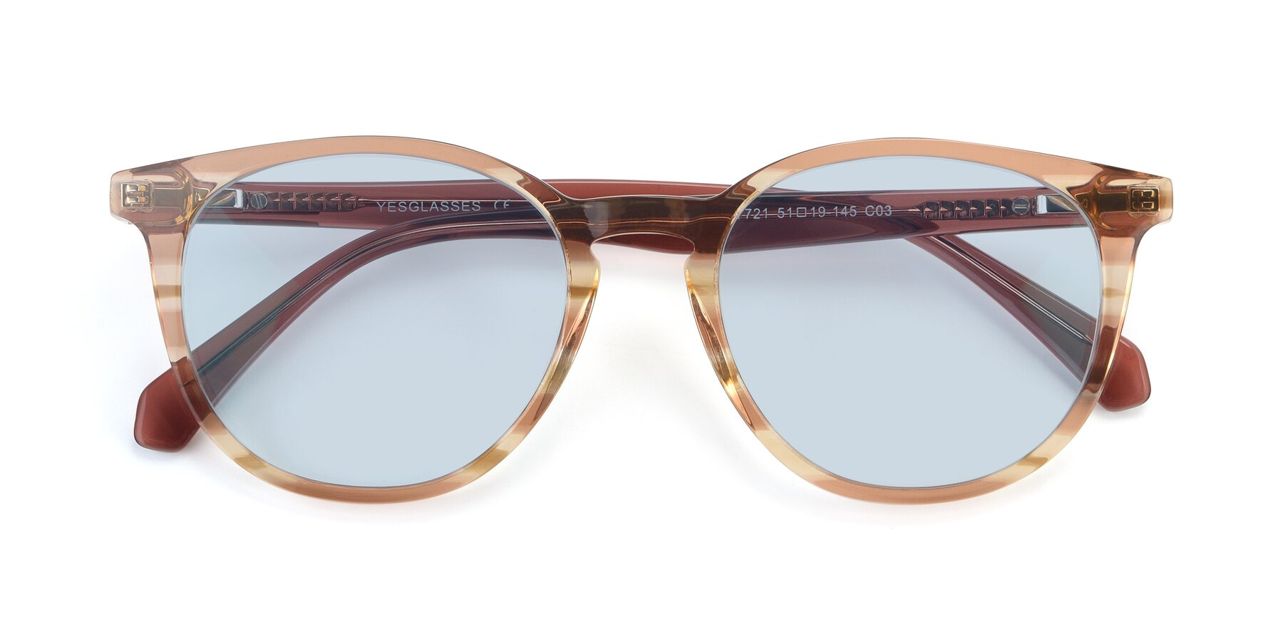 Folded Front of 17721 in Stripe Caramel with Light Blue Tinted Lenses