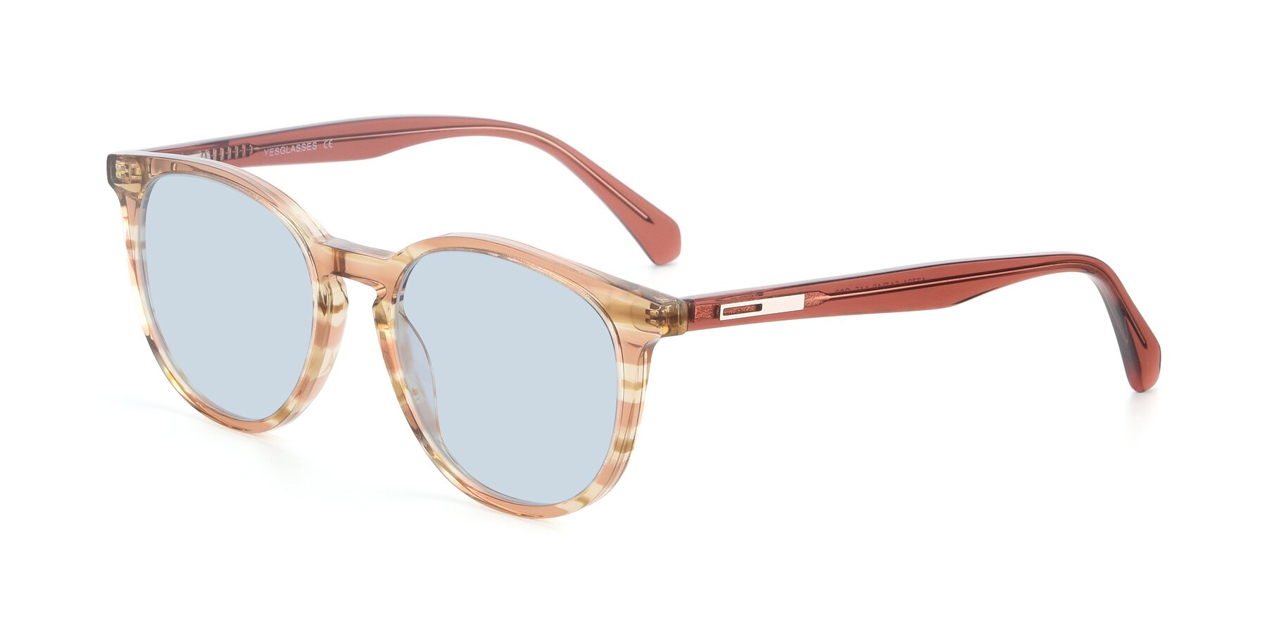 Angle of 17721 in Stripe Caramel with Light Blue Tinted Lenses