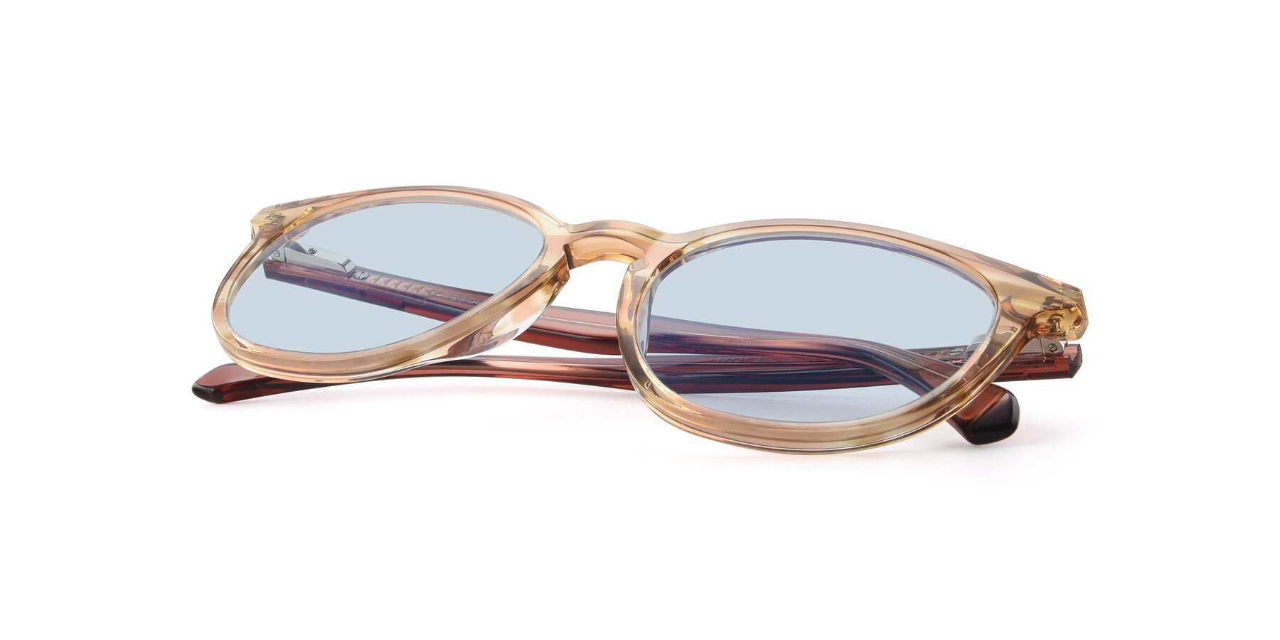 View of 17721 in Stripe Caramel with Light Blue Tinted Lenses
