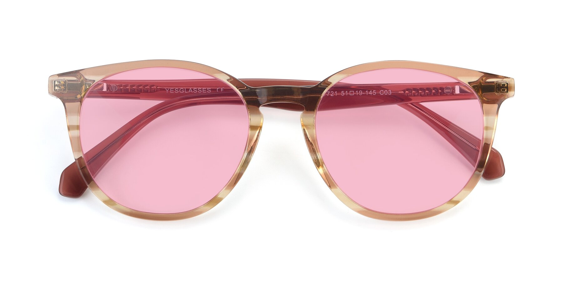Folded Front of 17721 in Stripe Caramel with Medium Pink Tinted Lenses