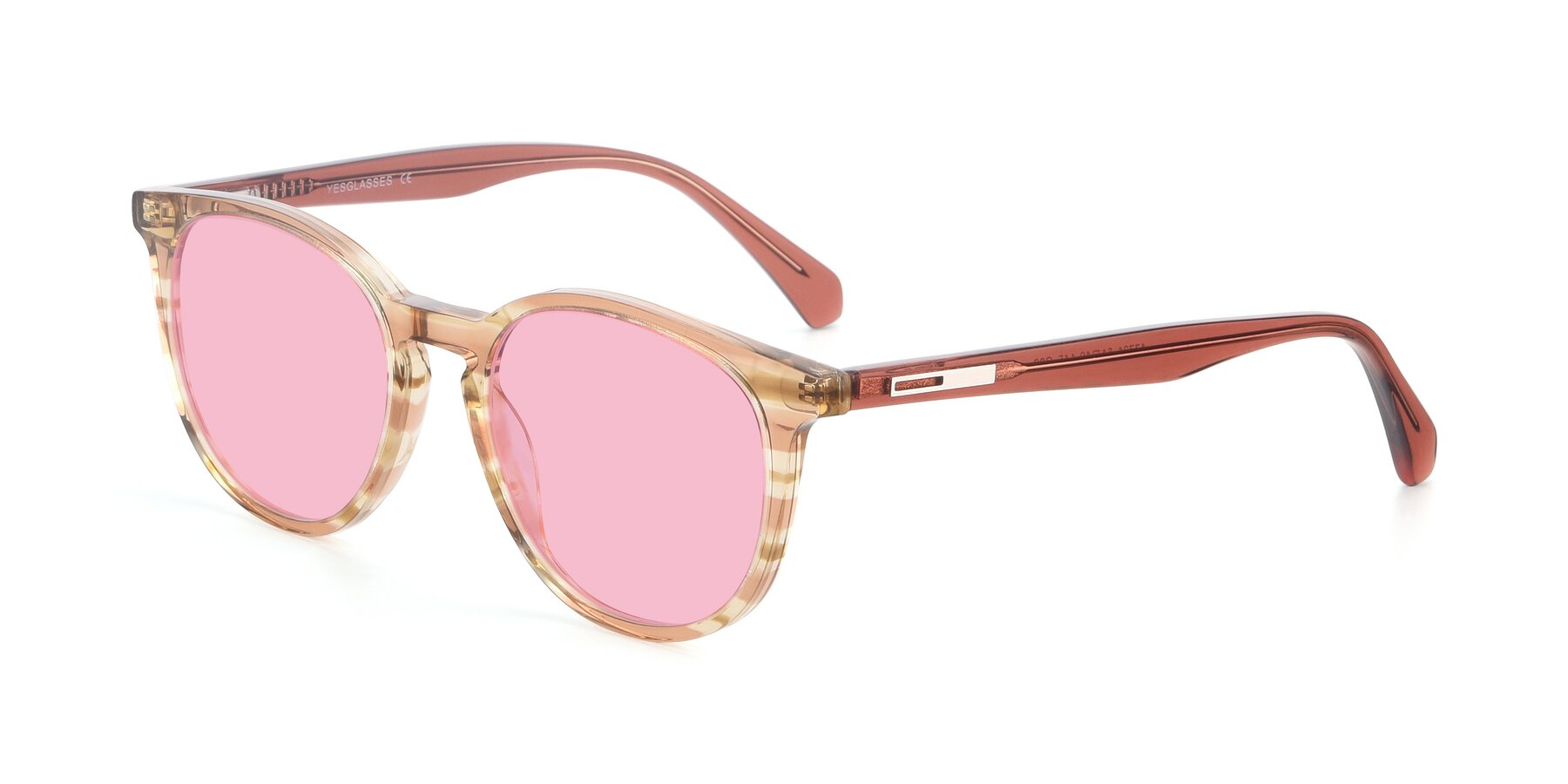 Angle of 17721 in Stripe Caramel with Medium Pink Tinted Lenses