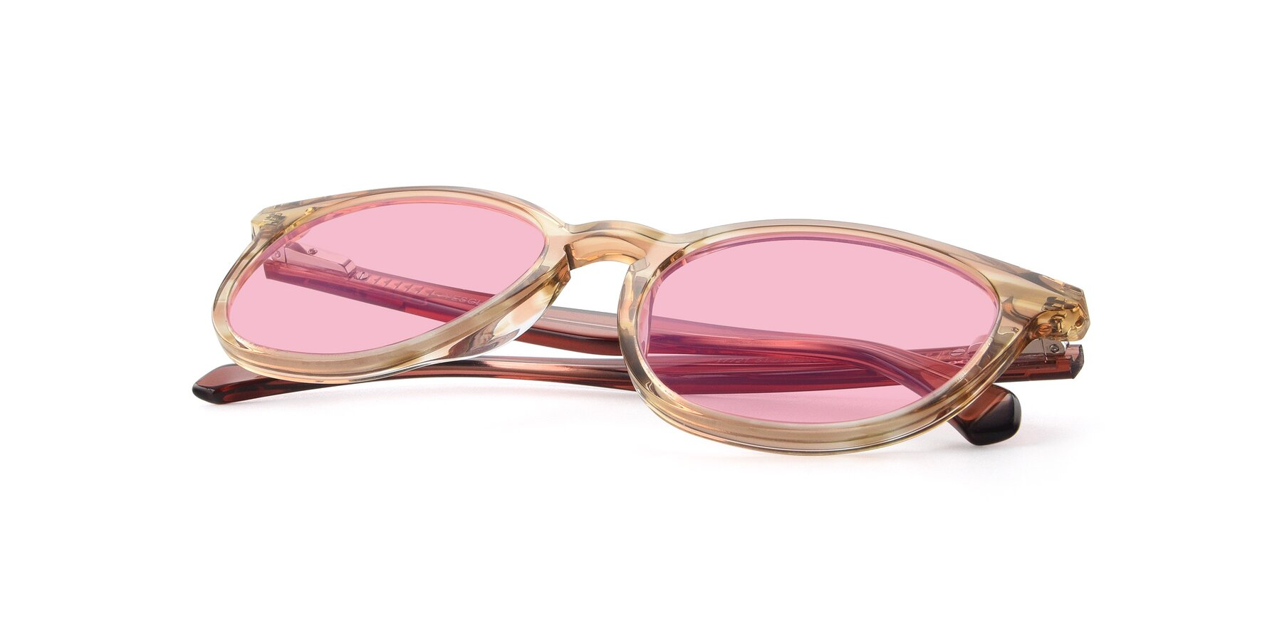 View of 17721 in Stripe Caramel with Medium Pink Tinted Lenses