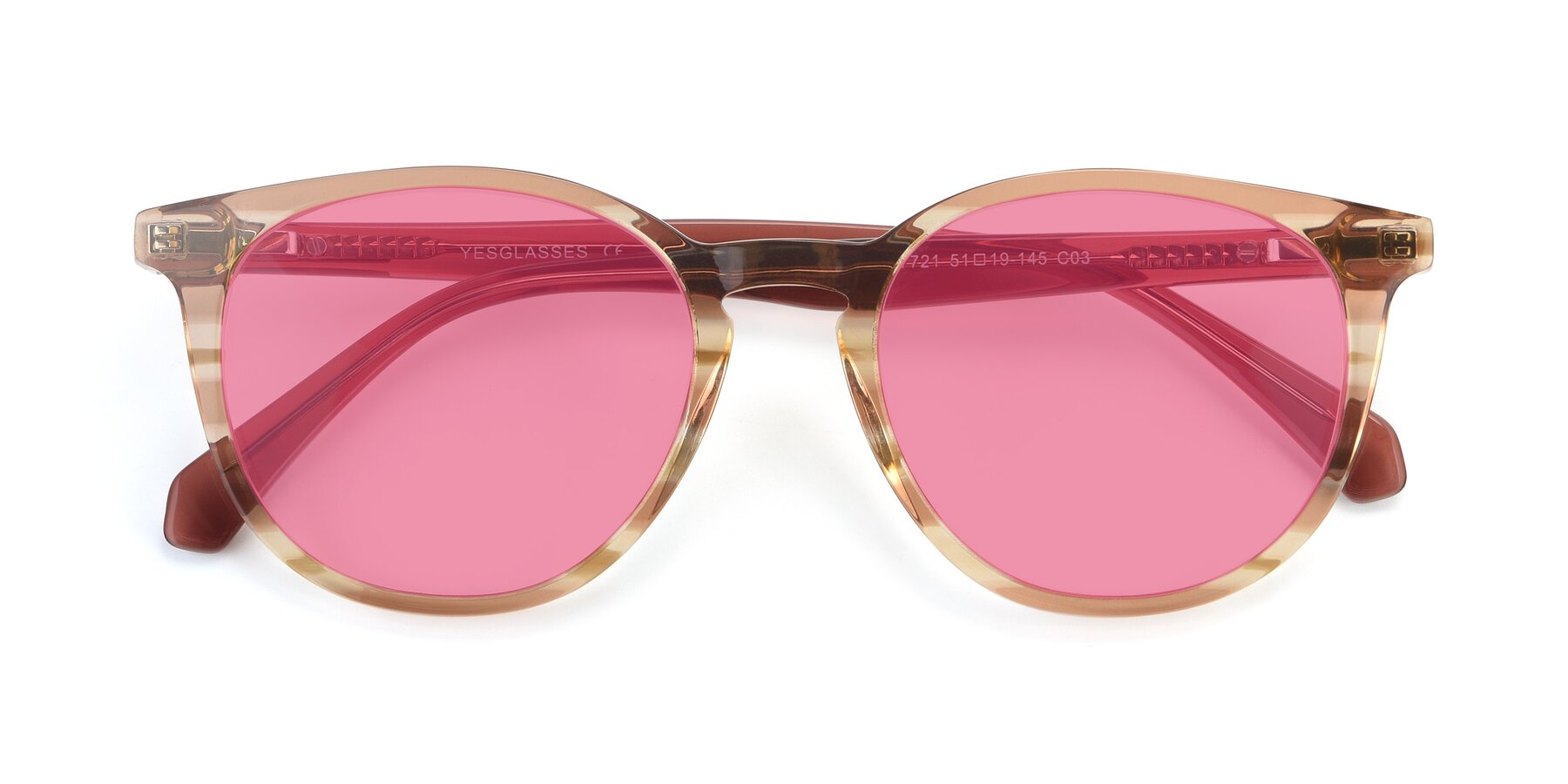 Folded Front of 17721 in Stripe Caramel with Pink Tinted Lenses