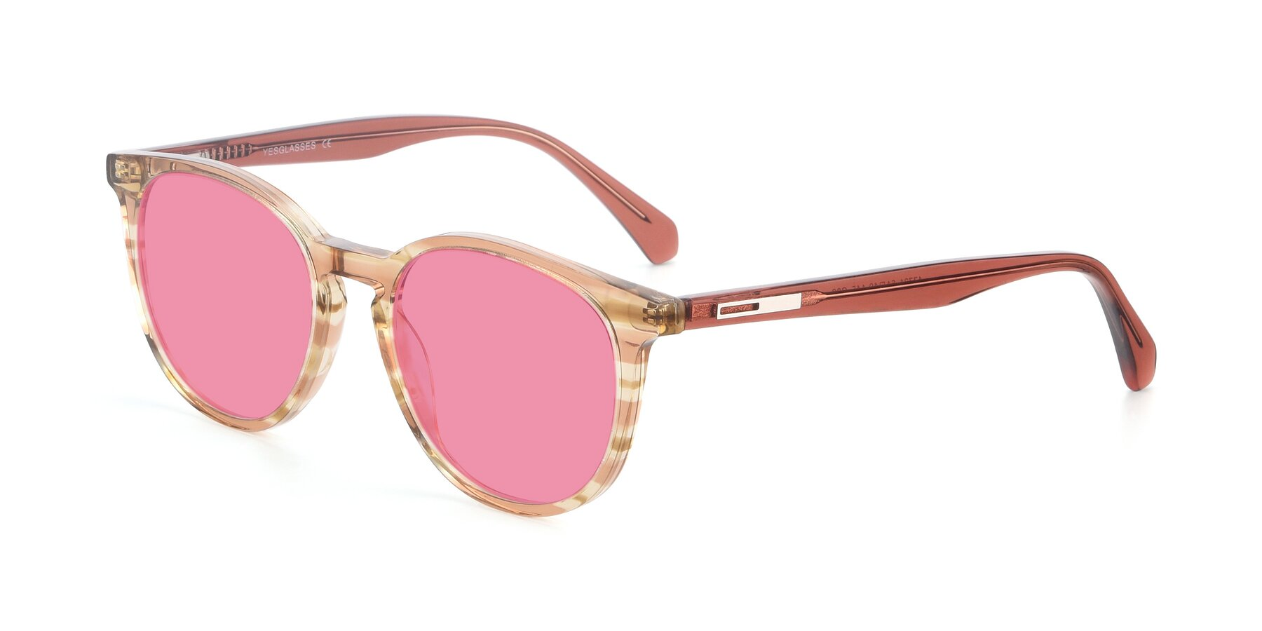 Angle of 17721 in Stripe Caramel with Pink Tinted Lenses