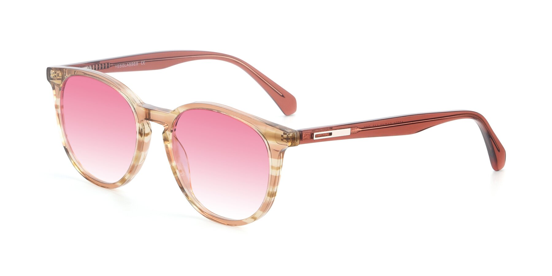 Angle of 17721 in Stripe Caramel with Pink Gradient Lenses