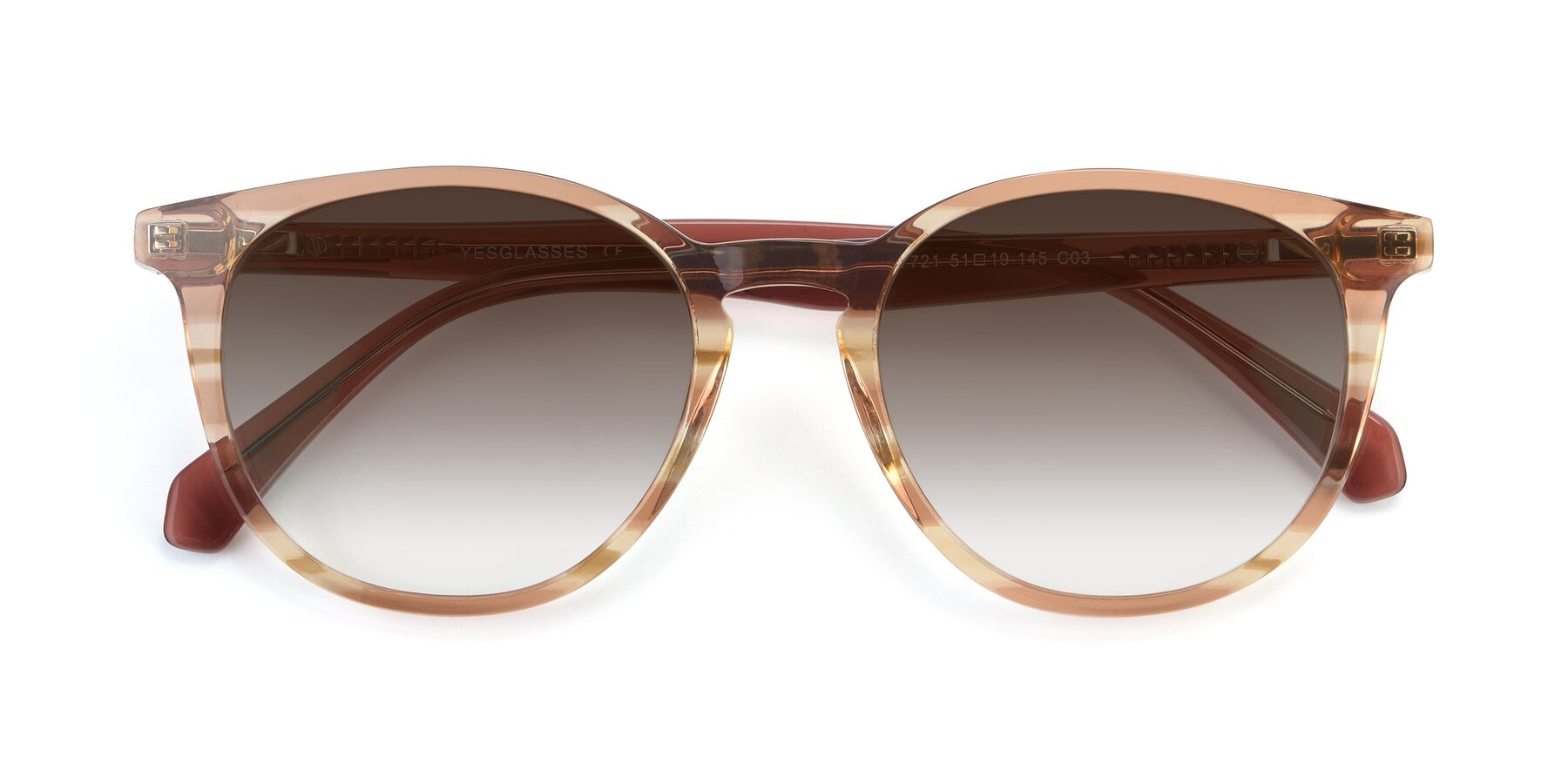 Folded Front of 17721 in Stripe Caramel with Brown Gradient Lenses