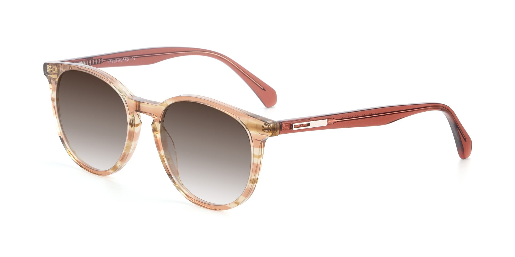 Angle of 17721 in Stripe Caramel with Brown Gradient Lenses