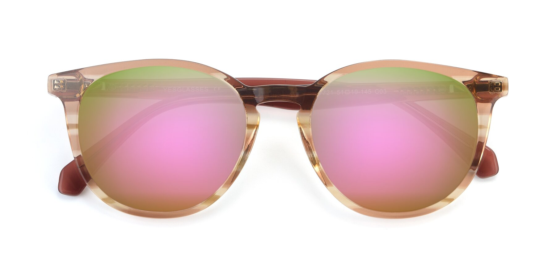 Folded Front of 17721 in Stripe Caramel with Pink Mirrored Lenses