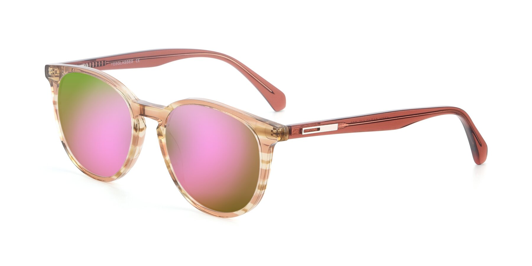 Angle of 17721 in Stripe Caramel with Pink Mirrored Lenses