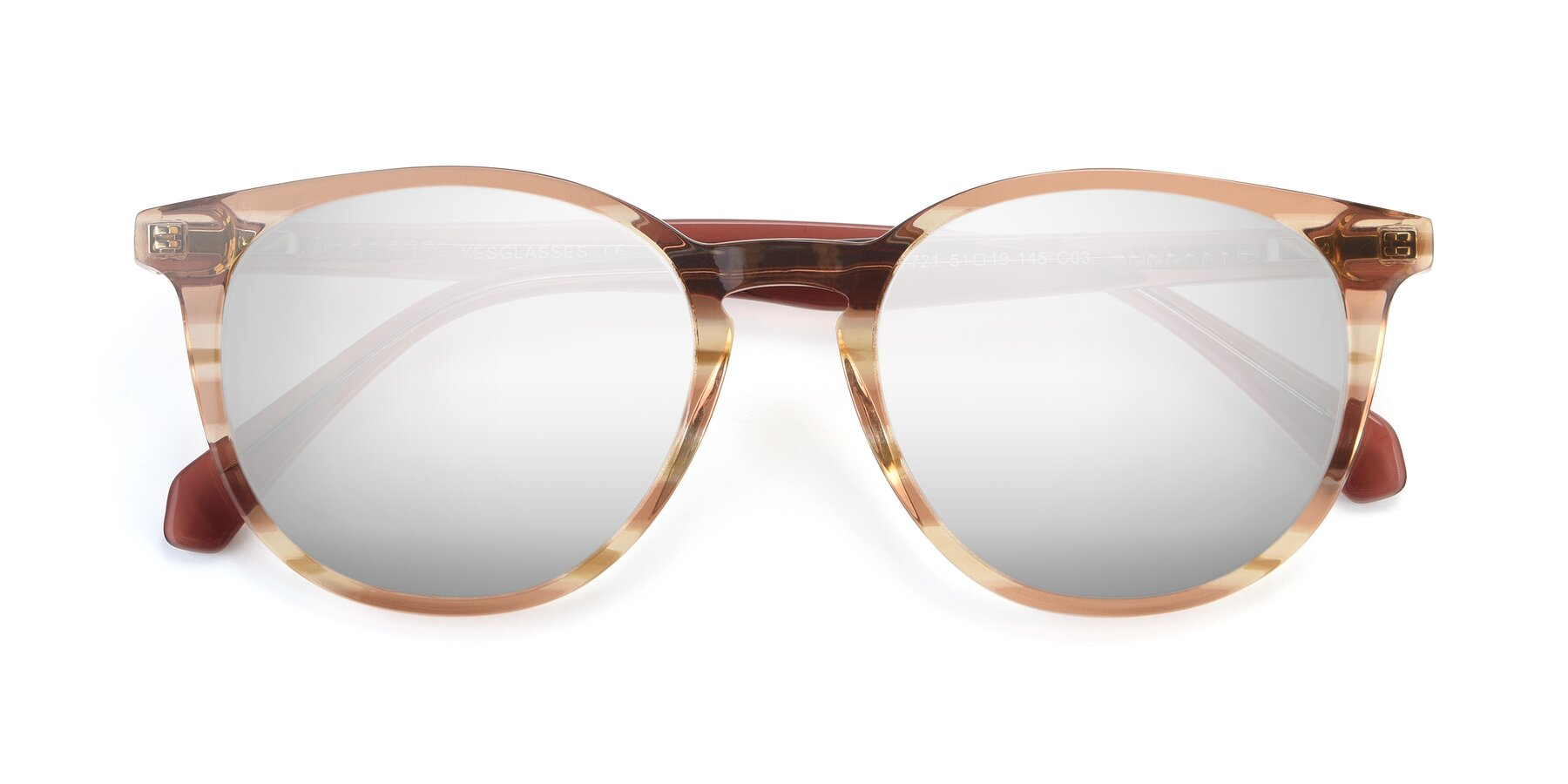 Folded Front of 17721 in Stripe Caramel with Silver Mirrored Lenses