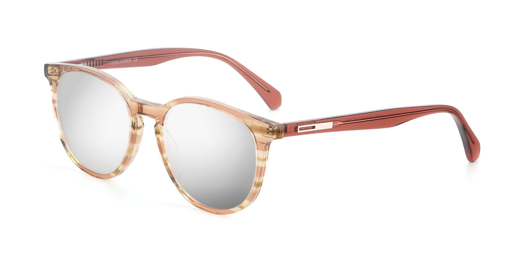 Angle of 17721 in Stripe Caramel with Silver Mirrored Lenses