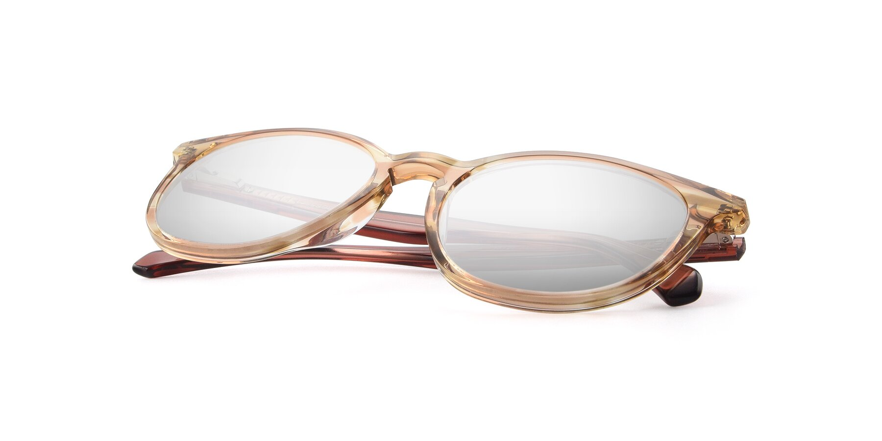 View of 17721 in Stripe Caramel with Silver Mirrored Lenses
