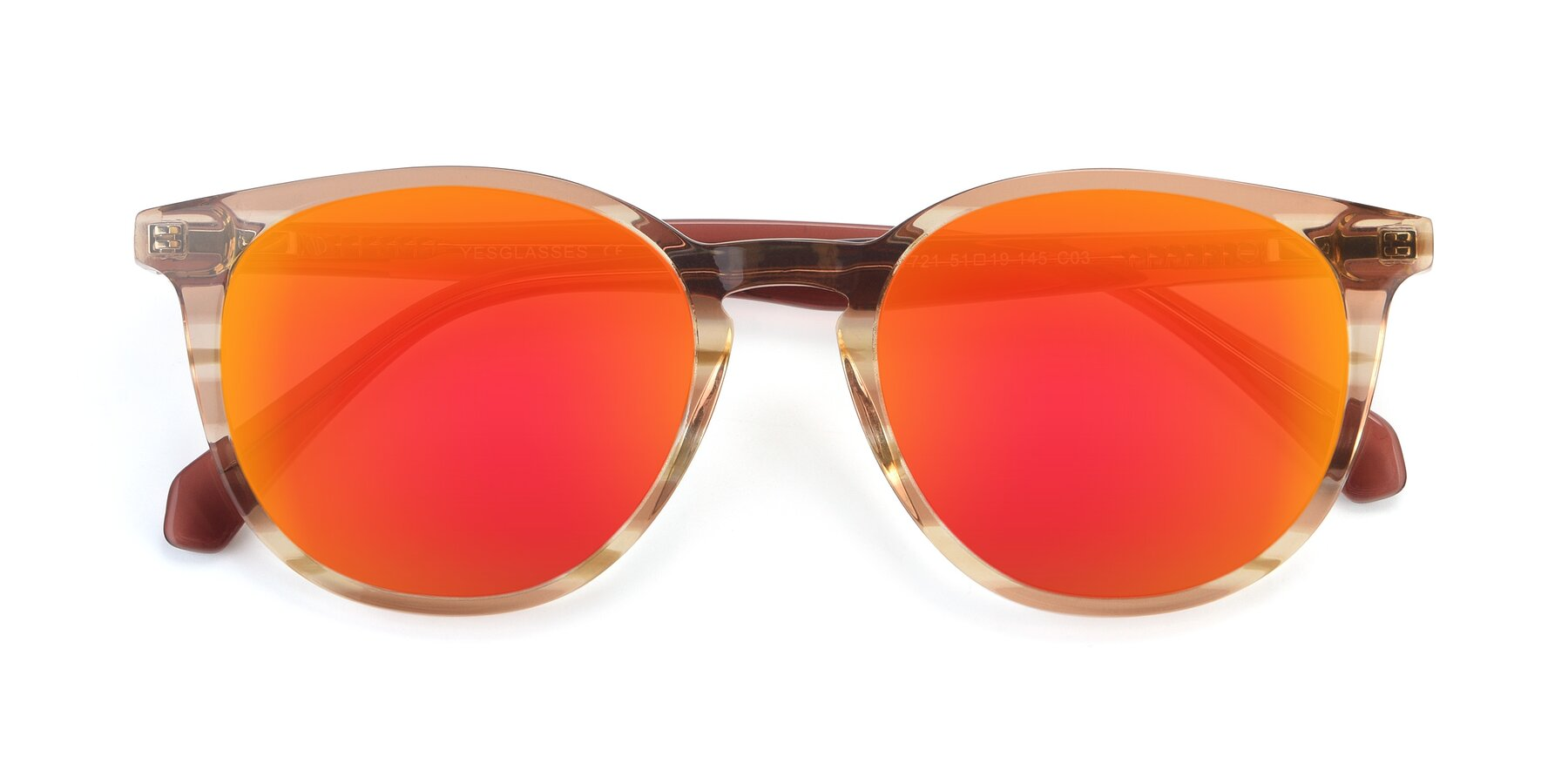 Folded Front of 17721 in Stripe Caramel with Red Gold Mirrored Lenses
