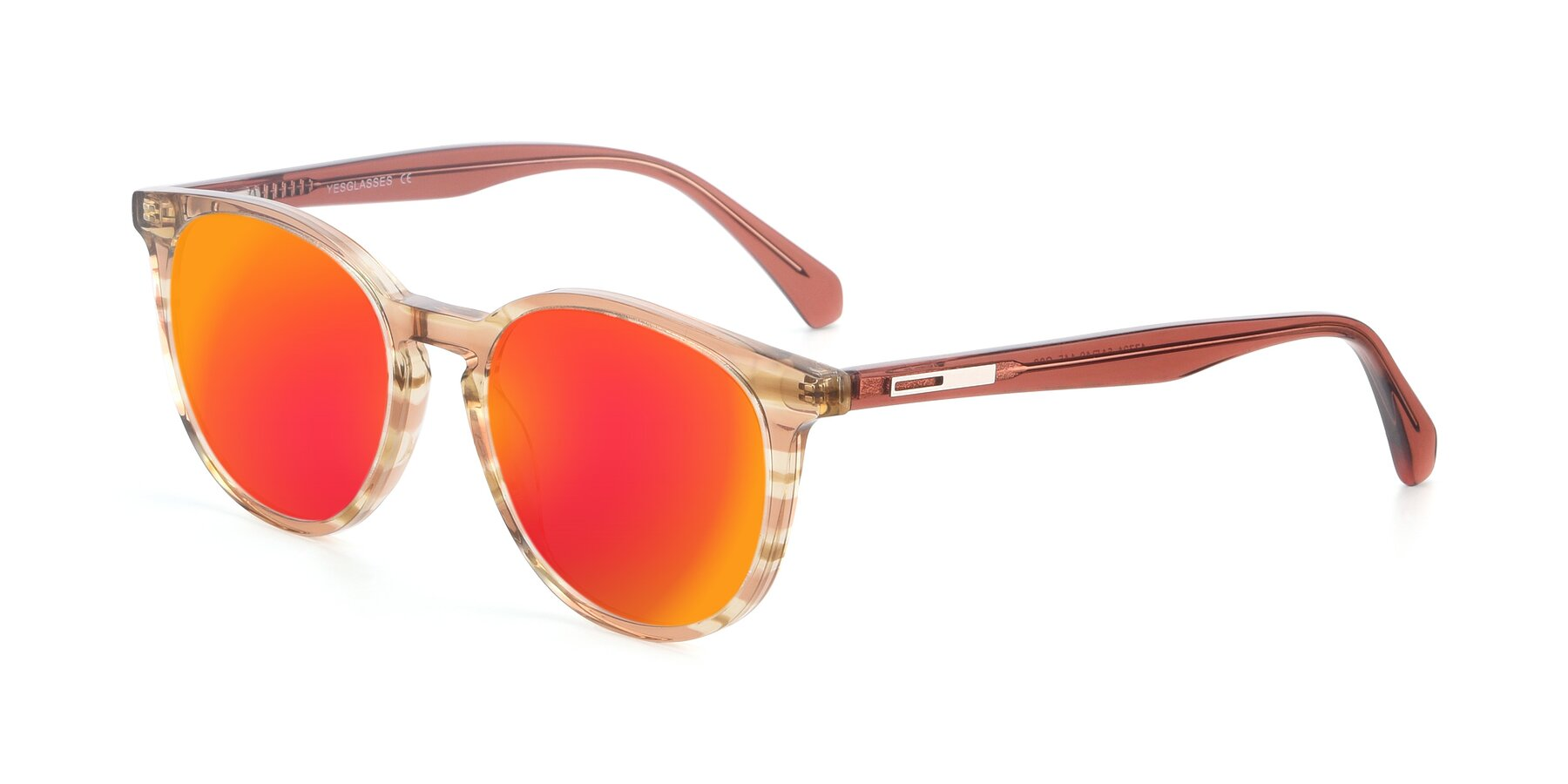 Angle of 17721 in Stripe Caramel with Red Gold Mirrored Lenses