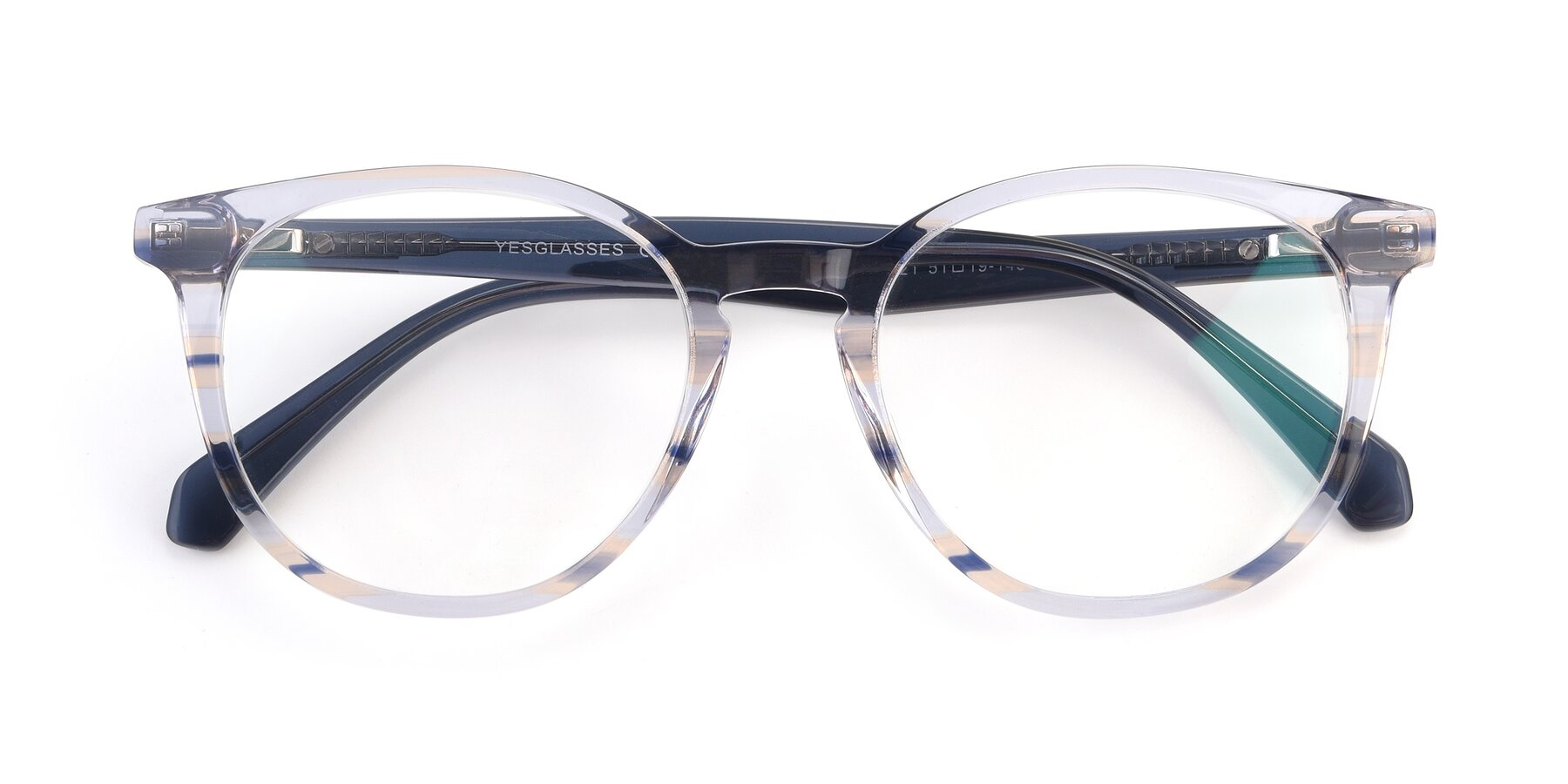 Folded Front of 17721 in Stripe Blue with Clear Blue Light Blocking Lenses