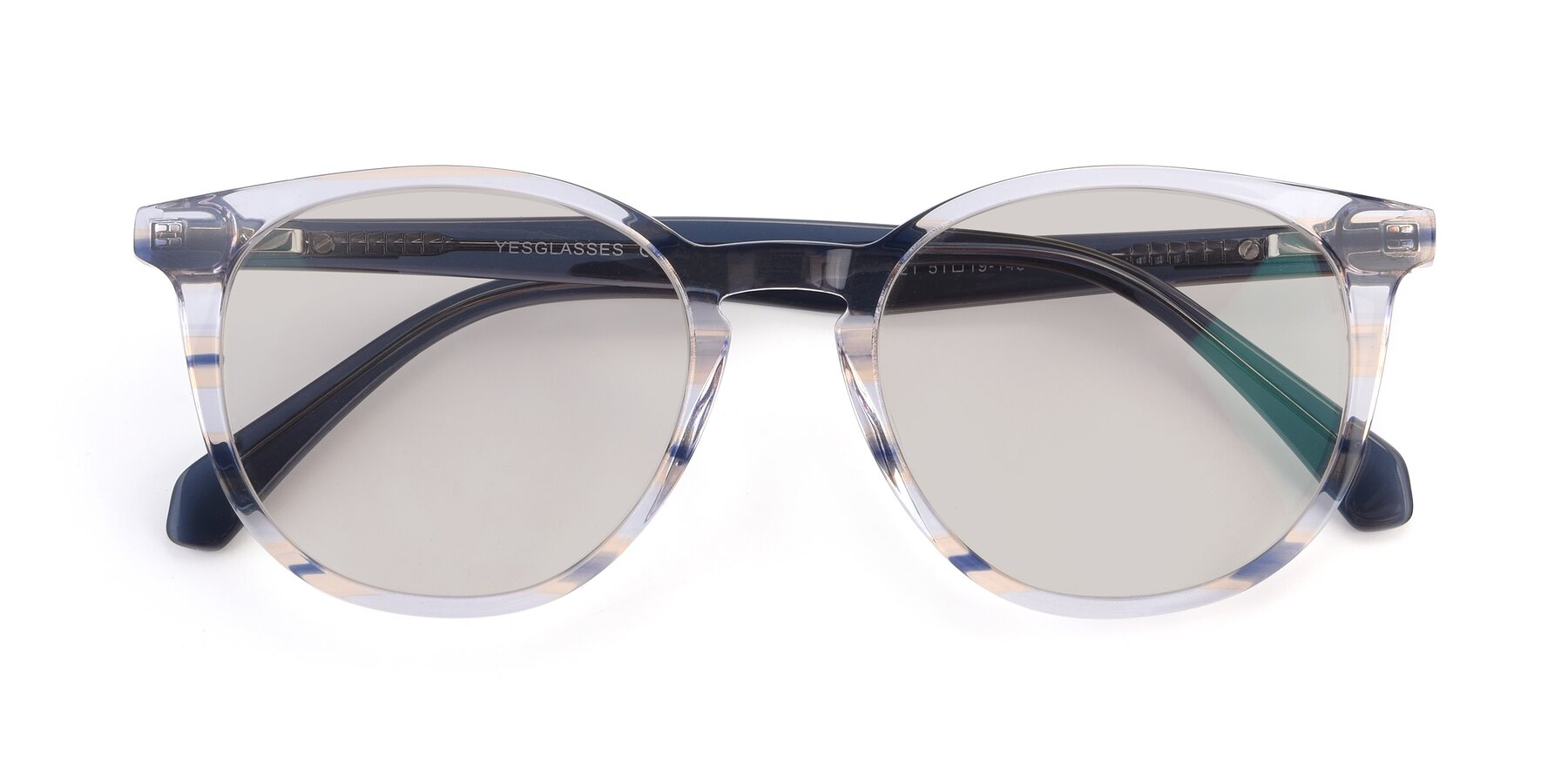 Folded Front of 17721 in Stripe Blue with Light Brown Tinted Lenses