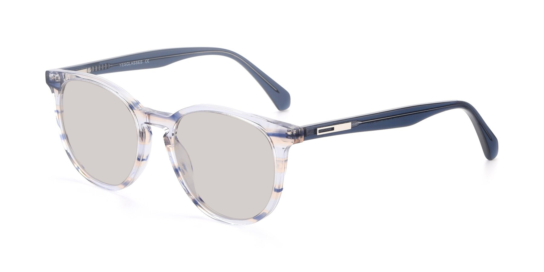 Angle of 17721 in Stripe Blue with Light Brown Tinted Lenses