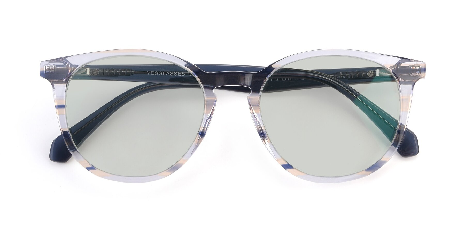 Folded Front of 17721 in Stripe Blue with Light Green Tinted Lenses
