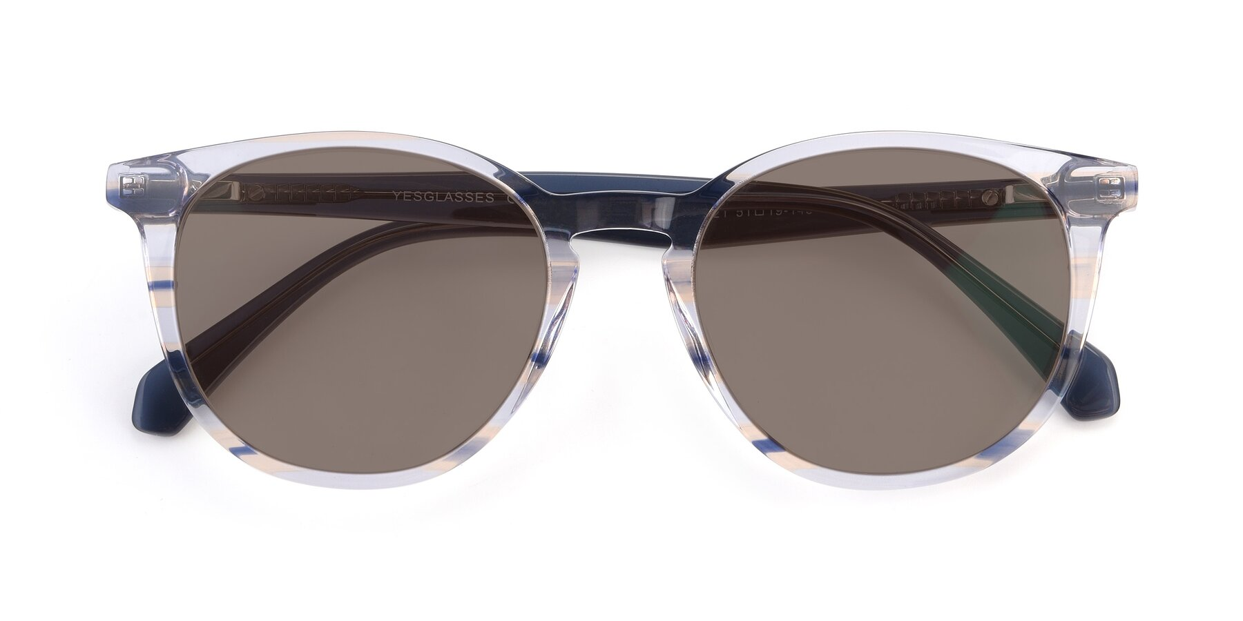 Folded Front of 17721 in Stripe Blue with Medium Brown Tinted Lenses