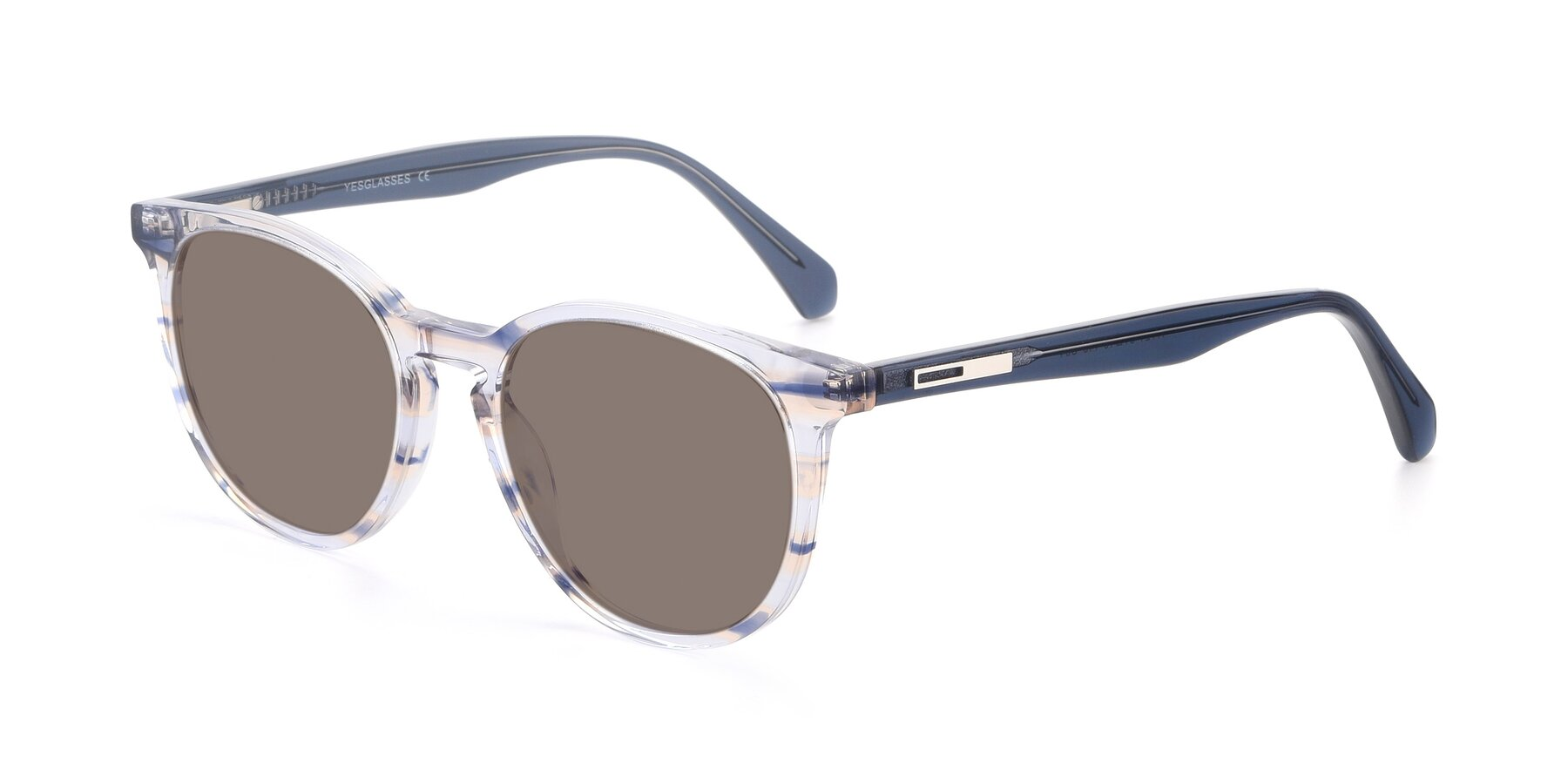 Angle of 17721 in Stripe Blue with Medium Brown Tinted Lenses