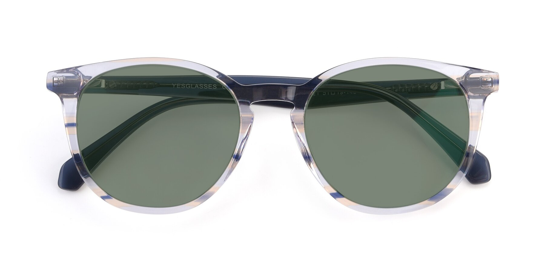 Folded Front of 17721 in Stripe Blue with Medium Green Tinted Lenses