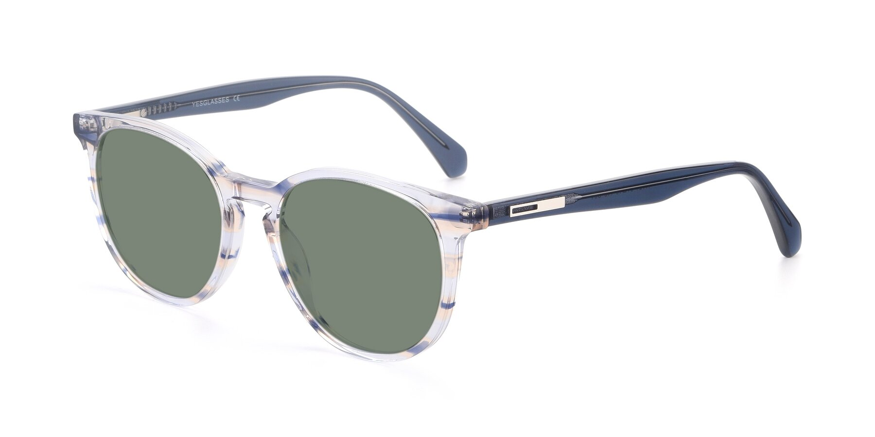 Angle of 17721 in Stripe Blue with Medium Green Tinted Lenses