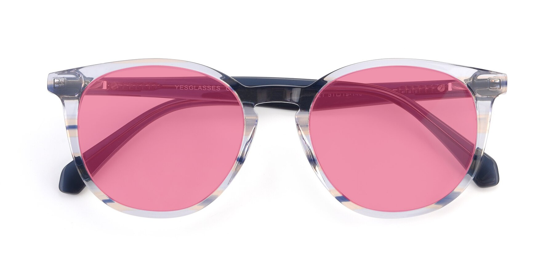 Folded Front of 17721 in Stripe Blue with Pink Tinted Lenses
