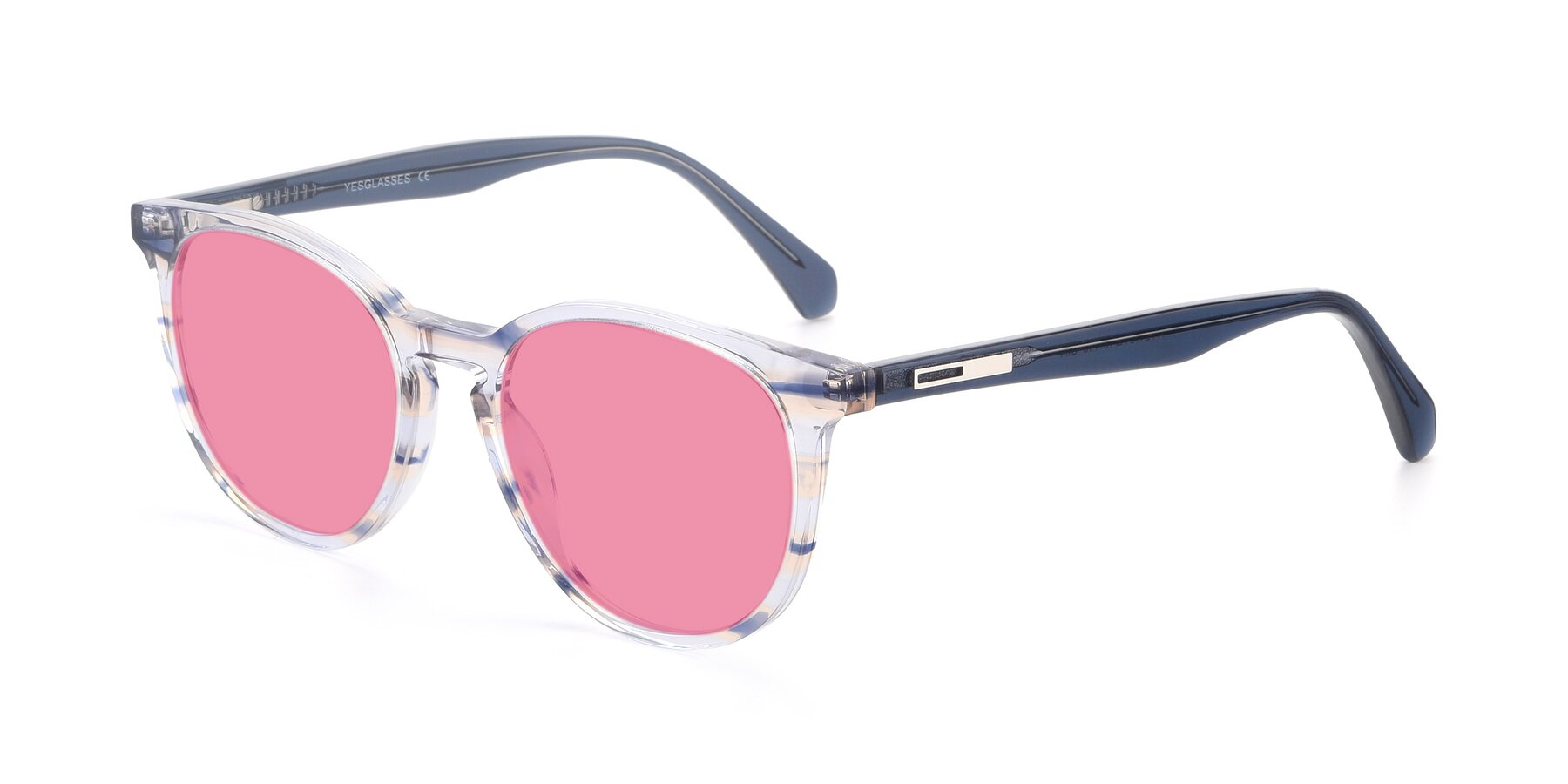 Angle of 17721 in Stripe Blue with Pink Tinted Lenses