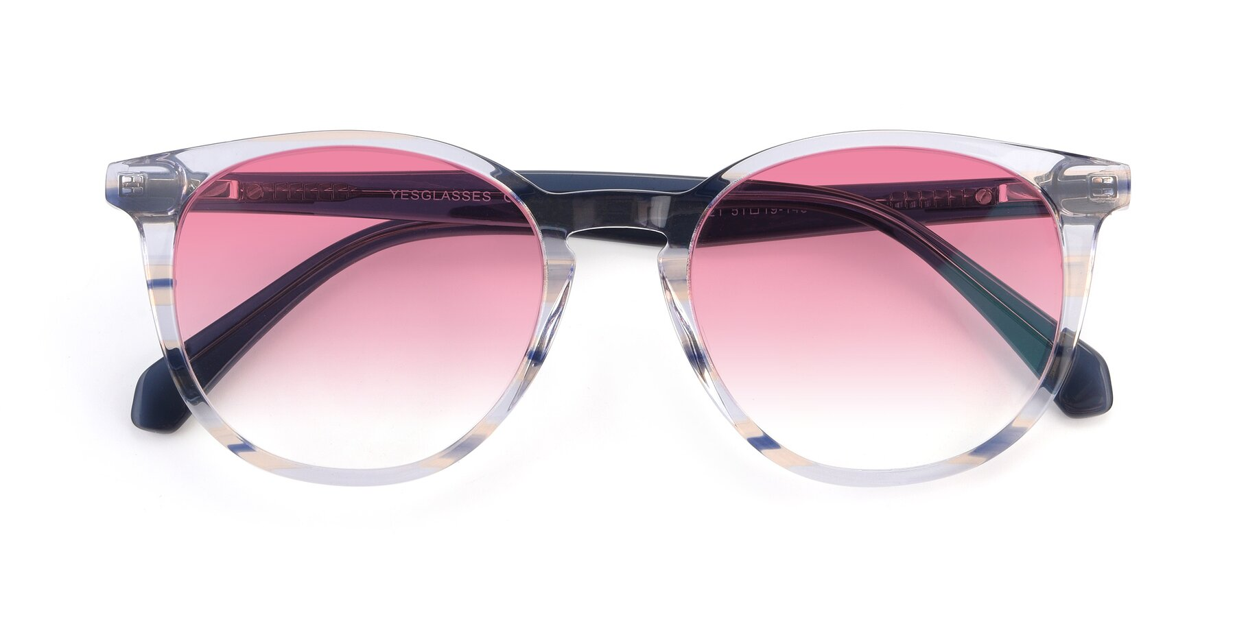 Folded Front of 17721 in Stripe Blue with Pink Gradient Lenses