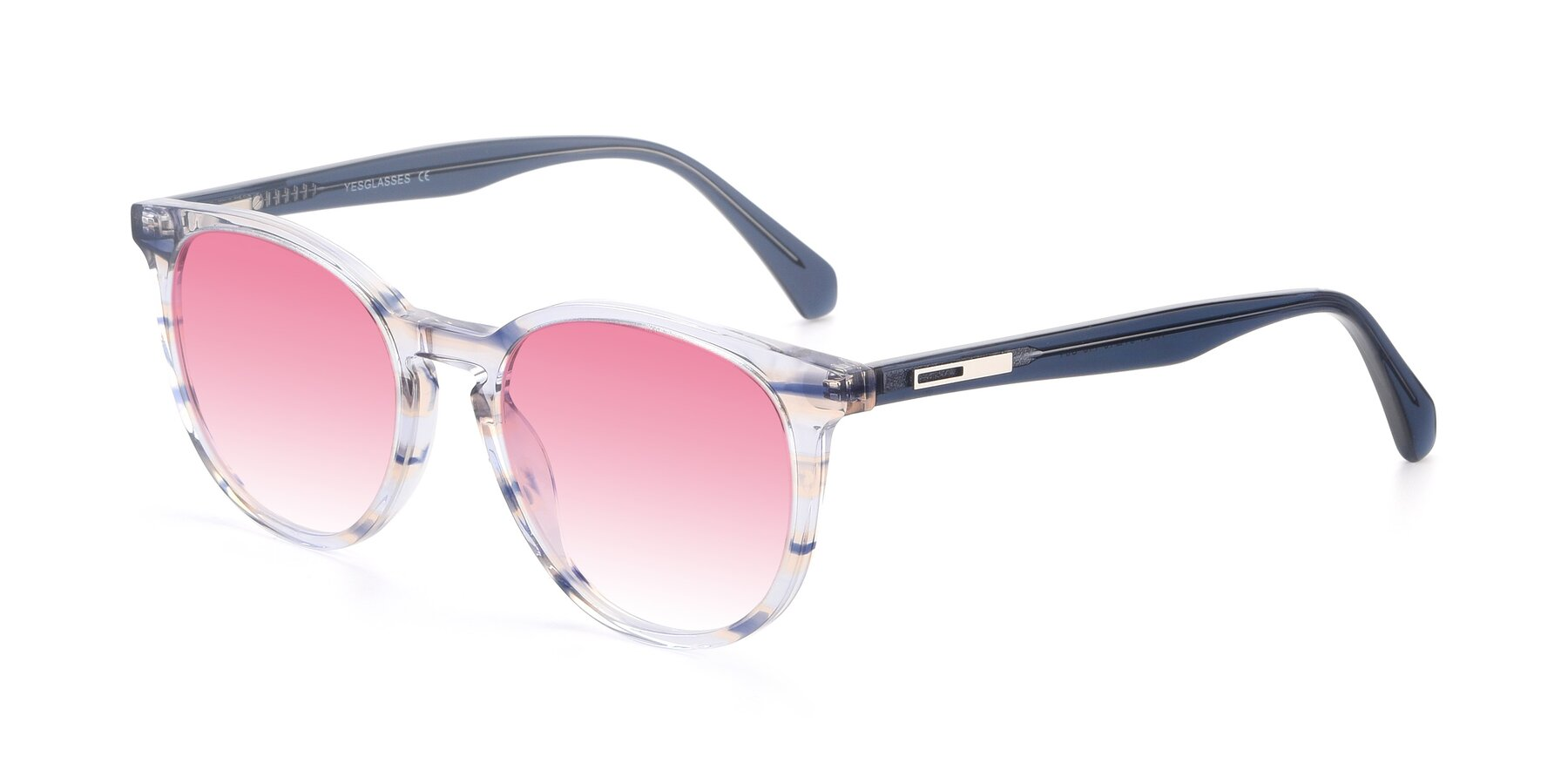 Angle of 17721 in Stripe Blue with Pink Gradient Lenses