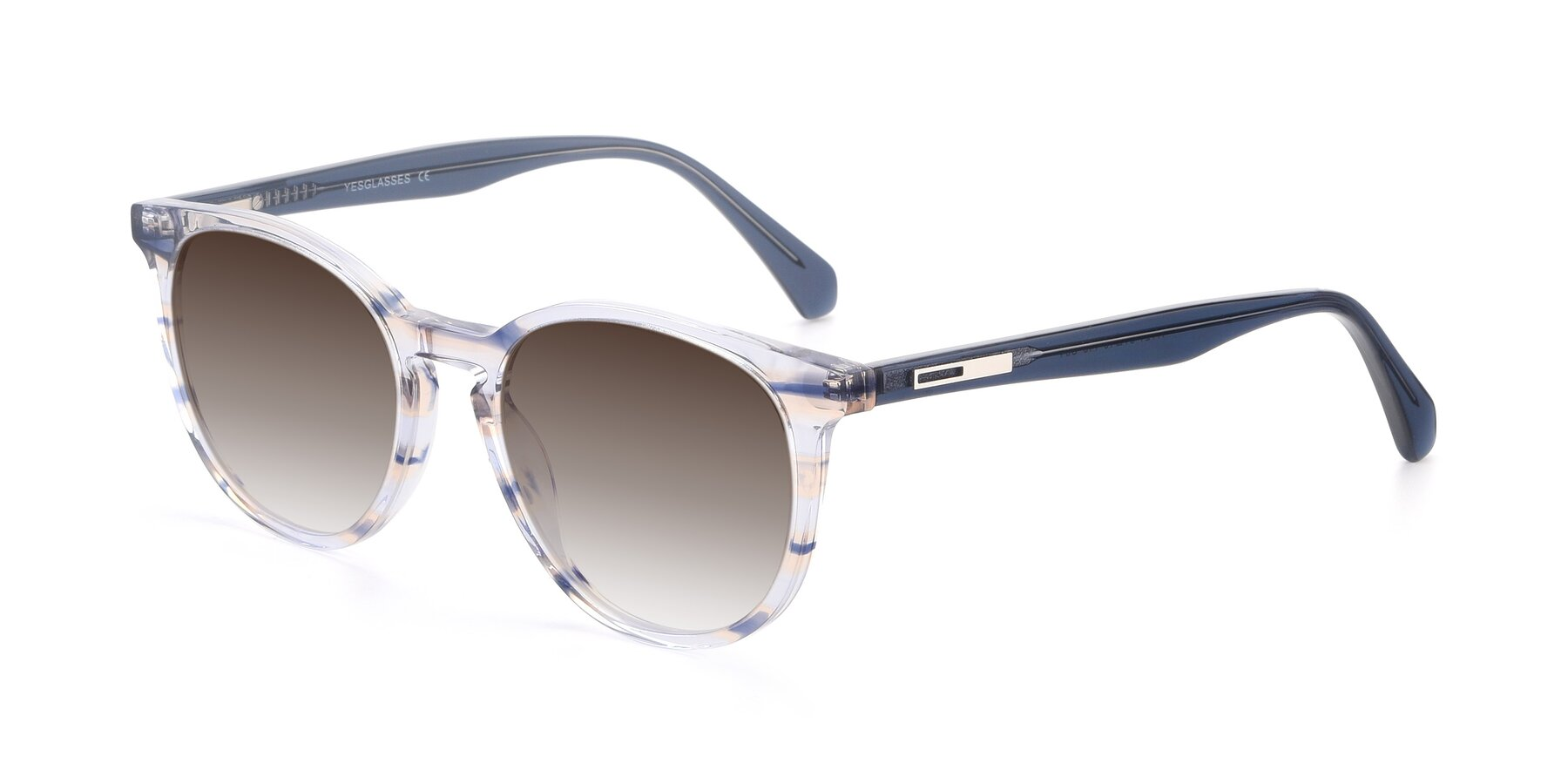 Angle of 17721 in Stripe Blue with Brown Gradient Lenses