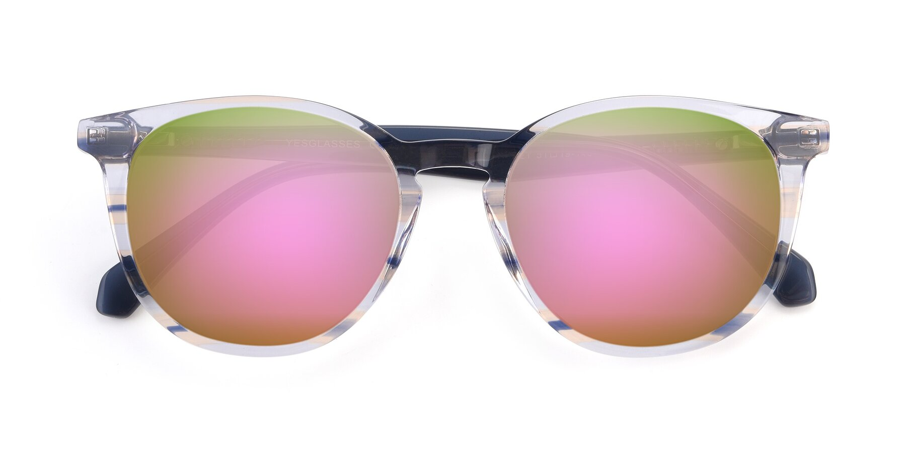 Folded Front of 17721 in Stripe Blue with Pink Mirrored Lenses