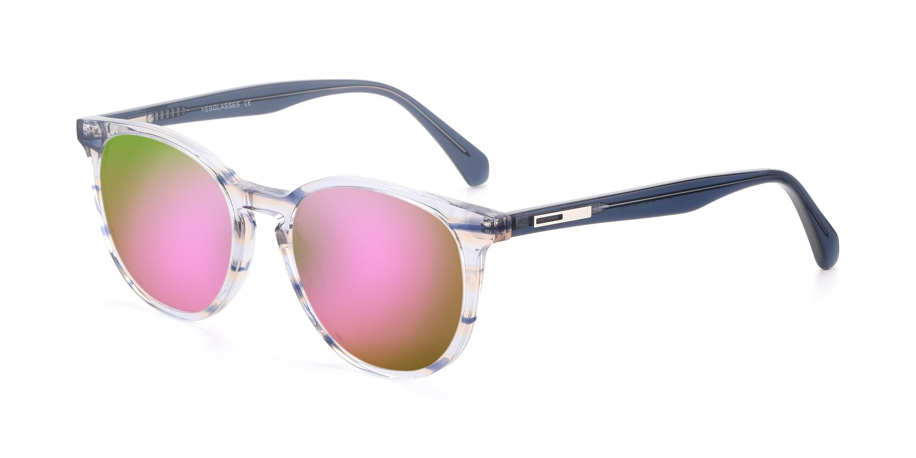 Angle of 17721 in Stripe Blue with Pink Mirrored Lenses